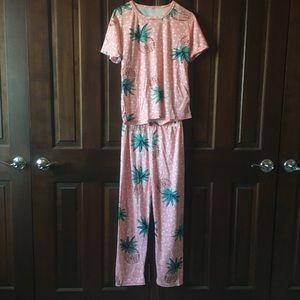 Pink Pineapple Pajama Two Piece Sleep Set 🍍💕